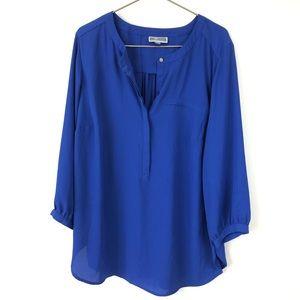 JM Collection Royal Blue Henley Blouse